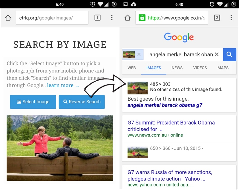 how to do reverse image search on mobile